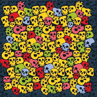 Skulls halloween poster background
