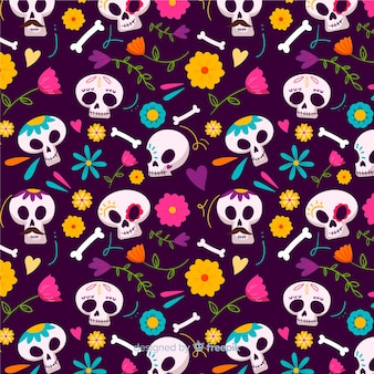 Skulls seamless pattern in hand drawn design