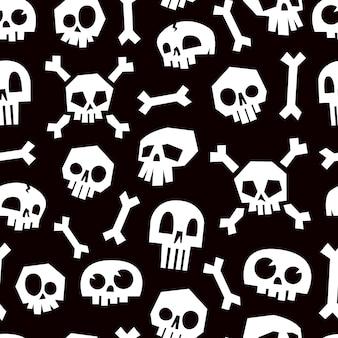 Skulls seamless pattern with bones.