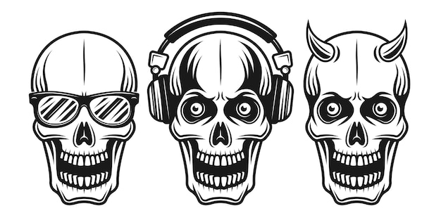 Skulls set of three style with sunglasses, headphones and horned vector illustration in monochrome vintage style isolated on white background