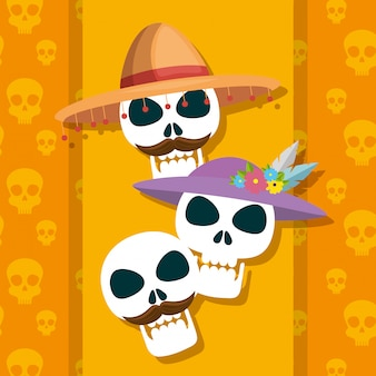Skulls traditional to celebrate day of the dead