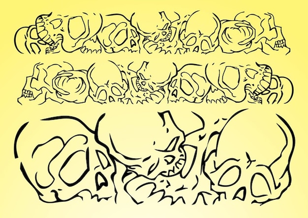 Skulls vector banner