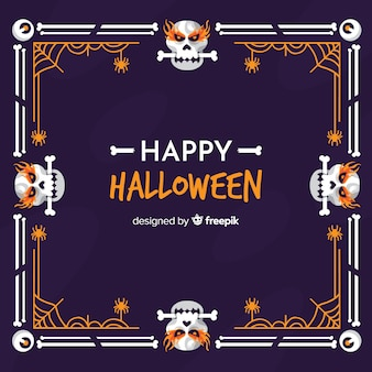Skulls with bones halloween frame