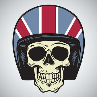Skulls with england motorcycle helmet vector illustration