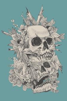 植物相の装飾と彫刻のコンセプトを持つ頭蓋骨