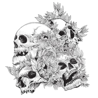 Skulls with flora ornament and engraving concept