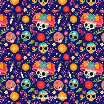 Skulls with floral hats seamless pattern