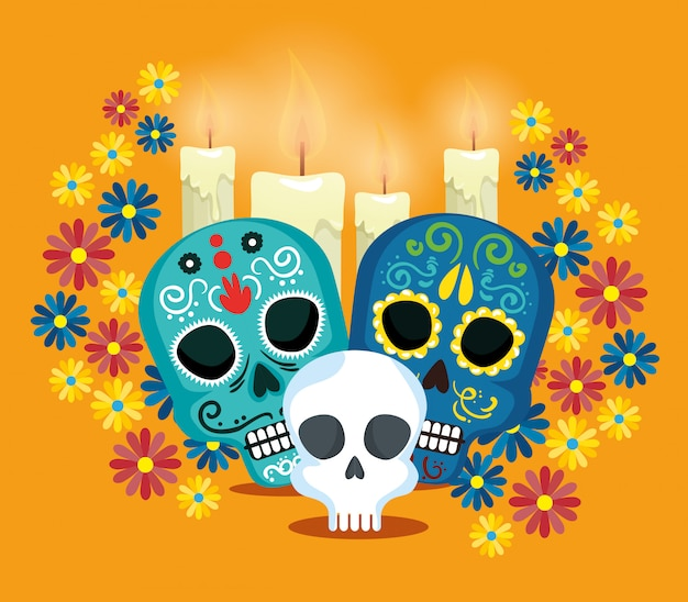 Skulls with flowers to celebrate day of the dead