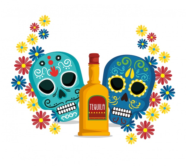 Skulls with flowers and tequila to mexican event