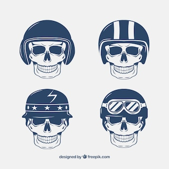 Skulls with hand-drawn helmets
