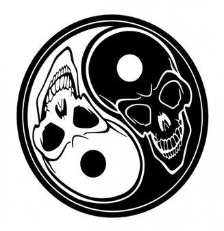 Skulls yin yang symbol tatoo