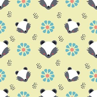 스컹크와 꽃 동물 벡터 원활한 패턴 배경