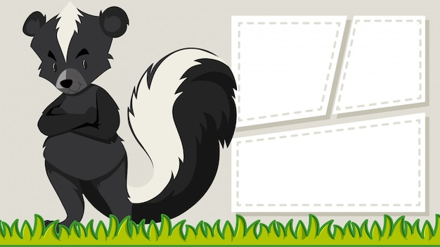 A skunk on blank banner