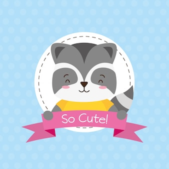 Skunk cute animal, cartoon and flat style, illustration