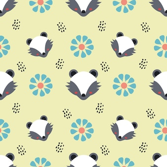 Skunk and flower animal vector seamless pattern background