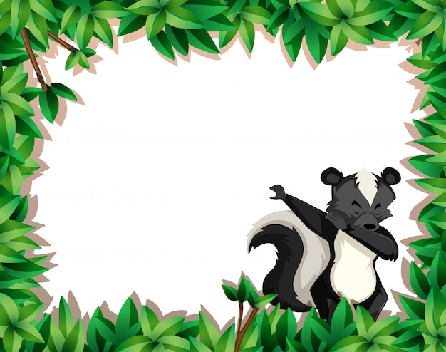 Skunk on nature frame with copyspace