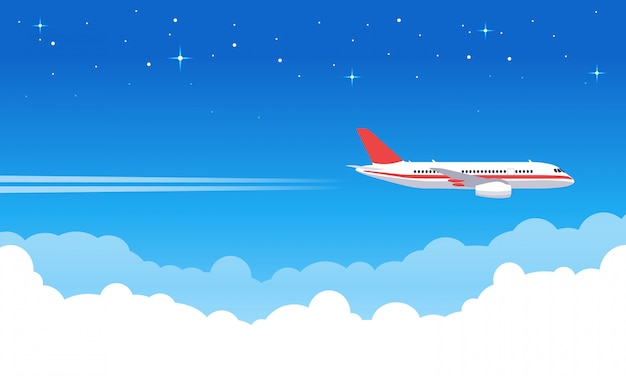 Sky aircraft. airplane flying in blue sky, flight jet aircraft in clouds, airliner vacation or transportation trip  illustration. trip jet, flight transport, transportation airplane