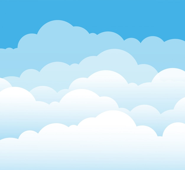 하늘과 구름 평면 스타일
