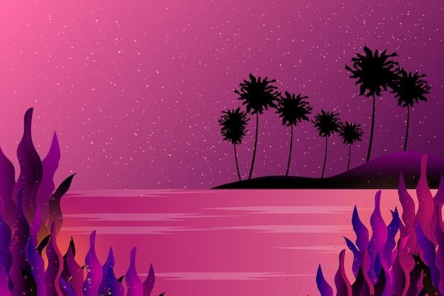 하늘과 바다 별이 빛나는 밤 배경
