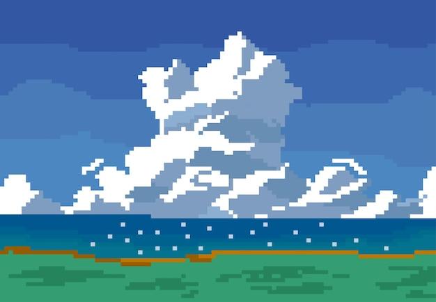 Небо и земля в стиле пиксель-арт Premium векторы