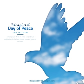 Sky background with dove silhouette