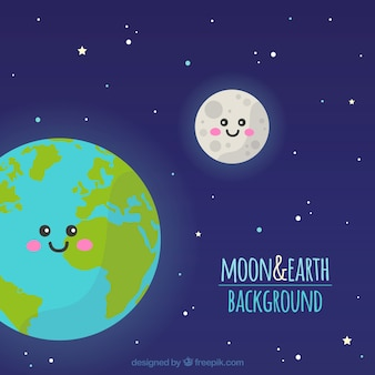 Sky background with earth and moon