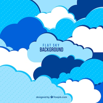 Sky background with flat clouds