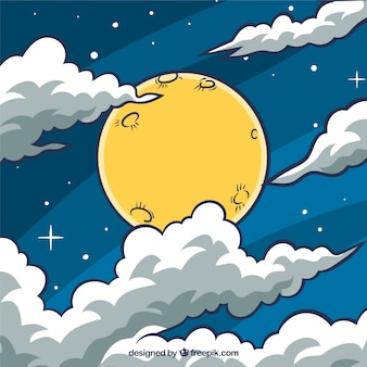 Sky background with moon and hand drawn clouds