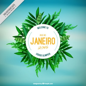 Sky background with rio de janeiro badge and green leaves