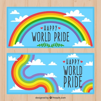Sky banners with pride day rainbow