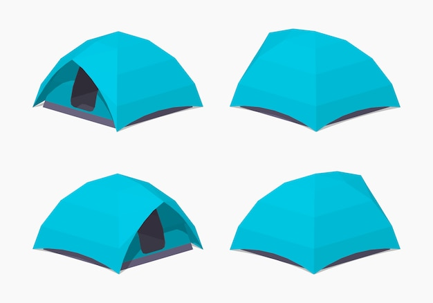 Sky-blue 3d lowpoly isometric camping tents