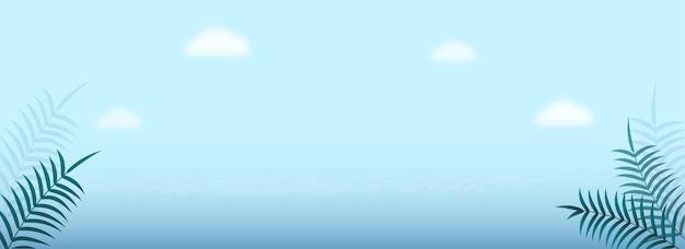 Sky blue background with tropical leaves. header or banner design.