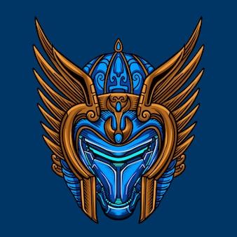 Sky blue warrior mask