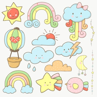 Sky and cloud collection cartoon cute for kids