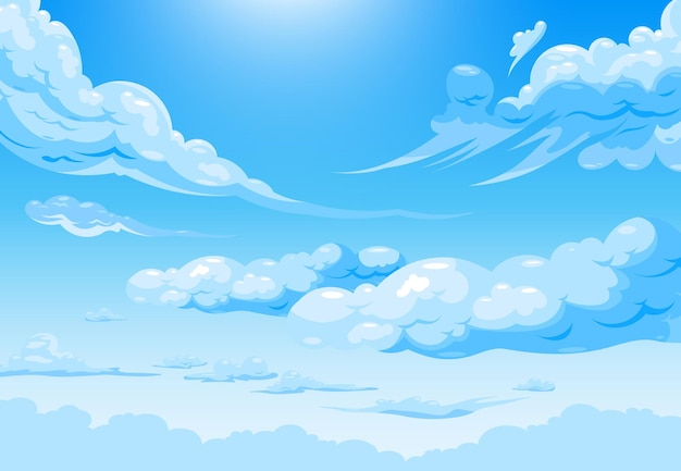 Sky cloud daily illustration with cartoon cirrus and cumulus white clouds in rays of sun illustration