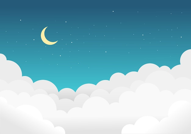 Sky and clouds background with bright stars and half moon