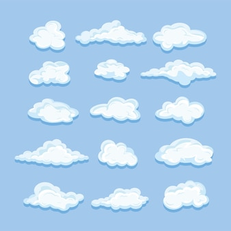Sky clouds icon set