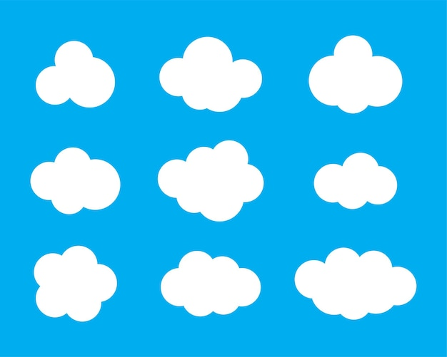 Sky clouds vector silhouette. cloud icon set.