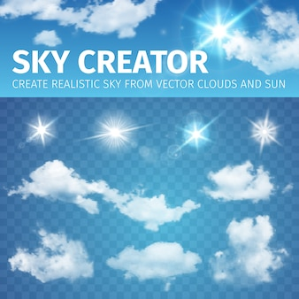 Sky creator. set realistic clouds and sun.  illustration eps 10