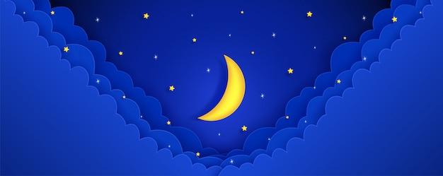 夜の空。星からの光があります。そして月が輝いていた。と背景。