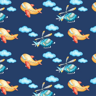 Sky element and airplanes watercolor pattern