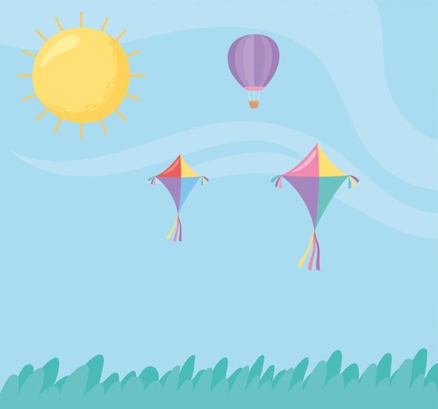 Sky flying kites hot air balloon sun meadow cartoon