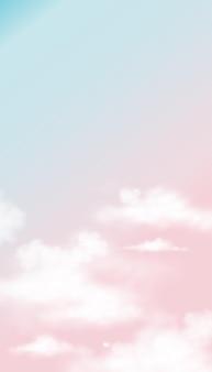 ピンクとブルーのパステルカラーの空と白いふわふわの雲。