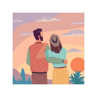 하늘 풍경 일몰 데이트 커플 포옹 함께