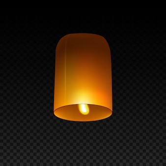 Sky lantern isolated on transparent.