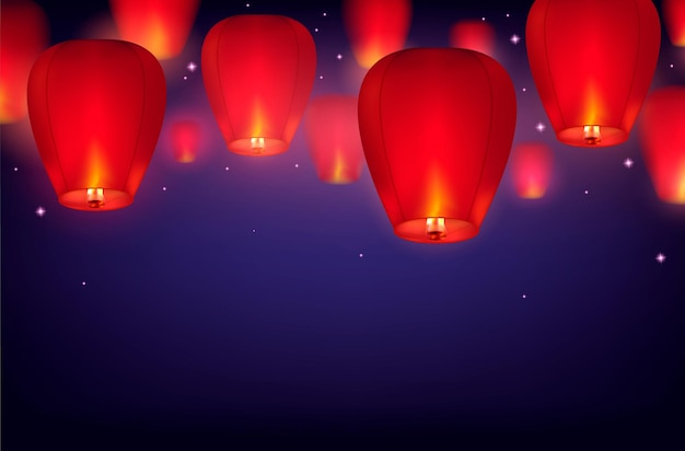 Фон небесных фонарей с градиентом темного неба со звездами и реалистичными изображениями висящих бумажных фонарей