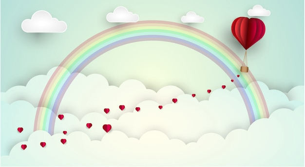 Sky love cloud rainbow. vector illustration
