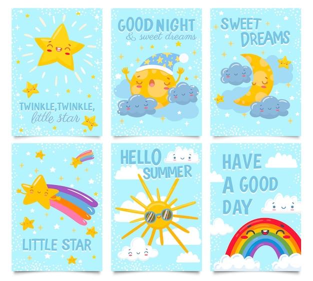 하늘 포스터. 반짝 반짝 작은 별, 좋은 밤, 달콤한 꿈 카드. 만화 그림을 설정합니다.