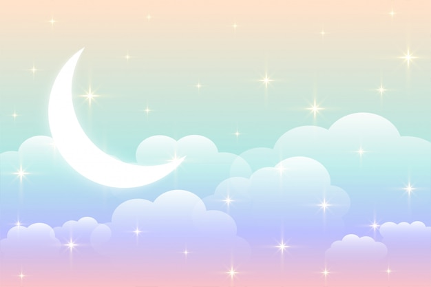 Sky rainbow background with glowing moon design
