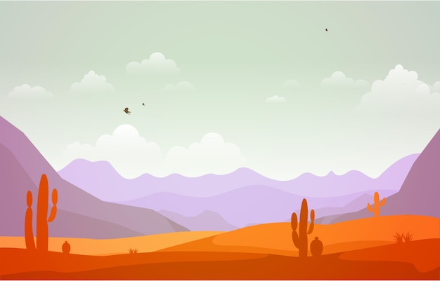 Красивый западный пейзаж пустыни с sky rock cliff mountain иллюстрация